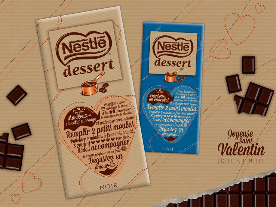 packaging Nestlé Desser Noir & Lait - Saint-Valentin