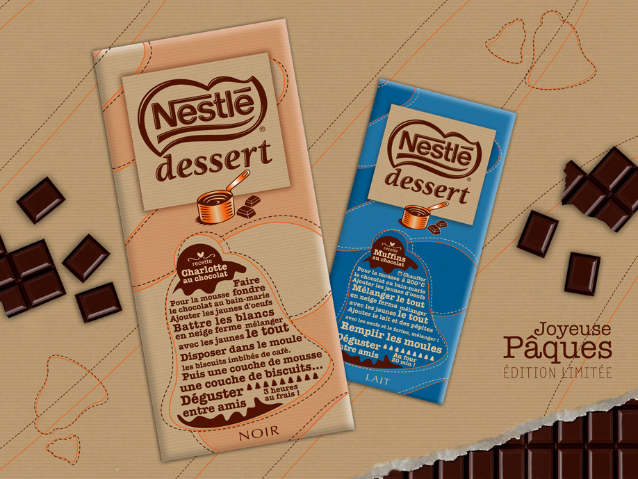 packaging - Nestlé Dessert Noir & Lait - Pâques
