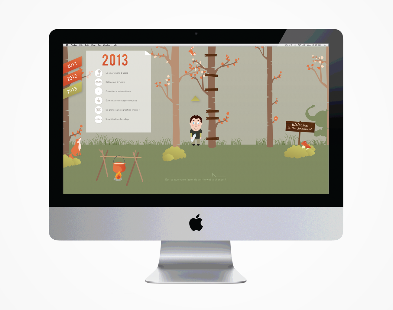 interface - menu et mascotte fixe